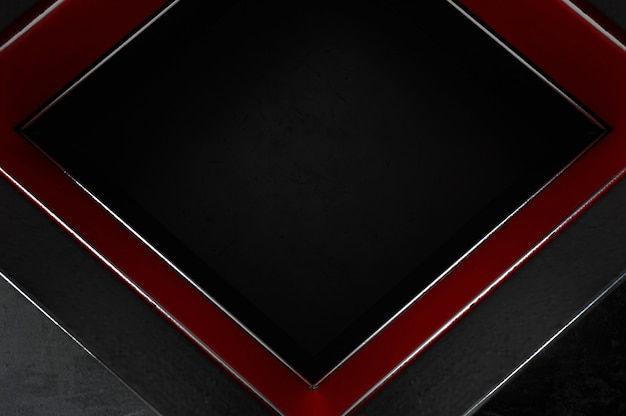 3dイラスト。テキストロゴの黒い空白スペースに抽象的な銀、赤と黒の矢印の方向