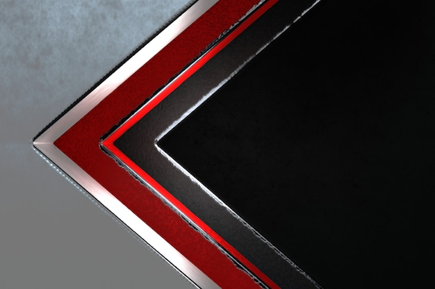 3d illustration. abstract silver , red and black arrow direction on black blank space for text logo , concept modern luxury futuristic surface and brochure design