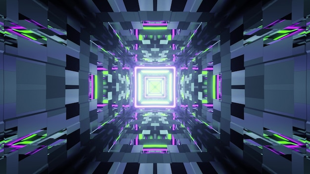3d illustration of abstract of square shaped futuristic neon tunnel with bricks illuminated by purple and green lights