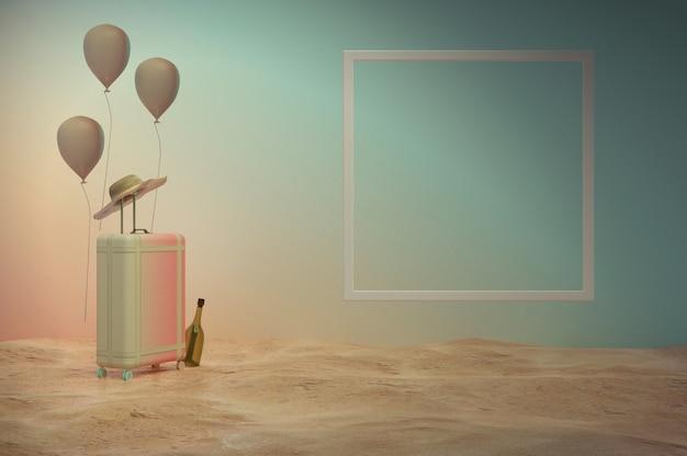 3d 그림입니다. 추상 여름 배너입니다. 파스텔 톤 미니멀리즘 스타일. 트렌디한 질감. 성수기, 주말, 공휴일, 여름세일 . 텍스트와 로고를 위한 공간