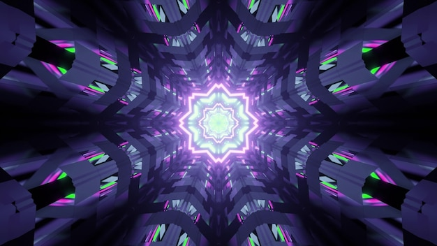 3d illustration of abstract of symmetric tunnel in shape of flower with reflection of purple and green lights