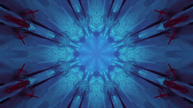 3d illustration of abstract textured of blue glowing neon tunnel with geometric shapes