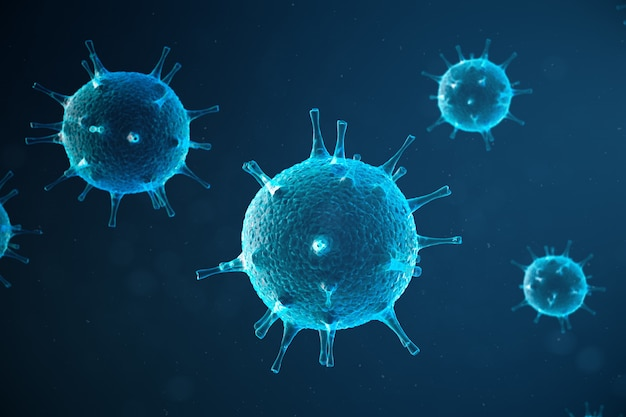 3d illustration abstract viral infection causing chronic disease. hepatitis viruses, influenza virus h1n1, flu, cell infect organism, aids. virus abstract background.