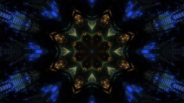 어두운 배경에 빛나는 화려한 꽃 모양의 만화경 장식으로 3d 그림 추상적 인 시각적 배경 디자인