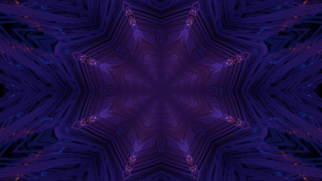 3d illustration abstract visual background with glowing neon symmetric lines inside dark purple tunnel with geometric design