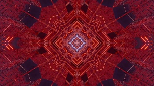 3d иллюстрации абстрактный визуальный фон с эффектом оптической иллюзии симметричного туннеля в форме магического кристалла с красными неоновыми огнями