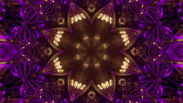 3d illustration abstract visual  with bright golden flower pattern and glowing purple lines