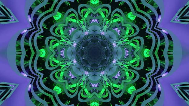 3d illustration abstract visual  with ornamental star and flower shapes in green and purple neon shades for futuristic sci fi design