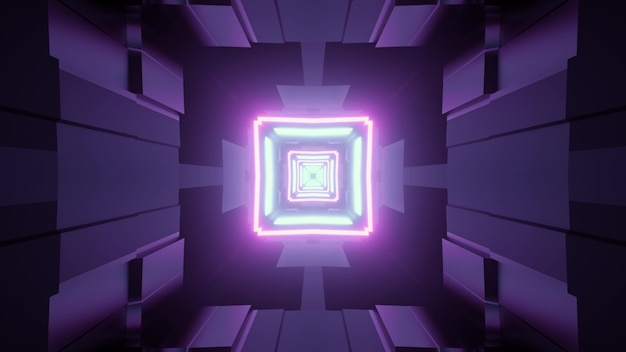 3d illustration abstract visual with square shaped neon frames inside of virtual world tunnel