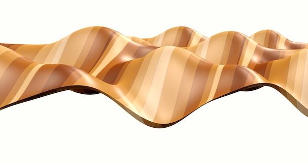 3dイラスト黒と白の曲線の抽象的な波