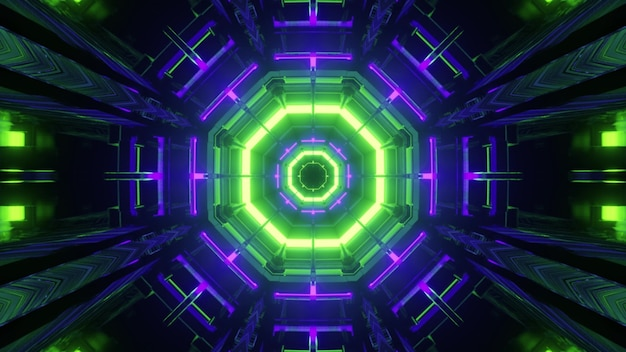 暗い仮想トンネルの内側にキラリと光る八角形のカラフルなネオンラインと3dイラスト抽象