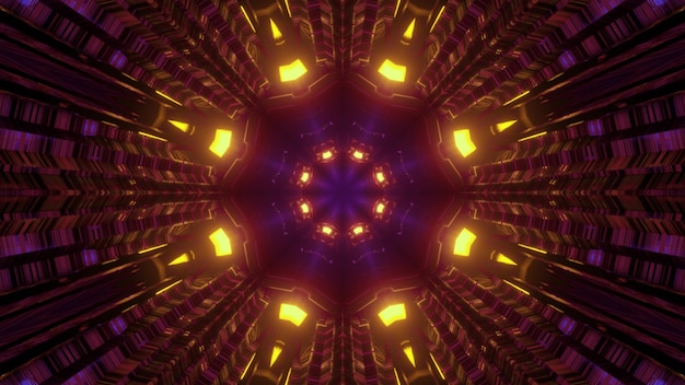 3d illustration abstract  with shiny lights reflecting in dark tunnel with geometric flower shaped hole