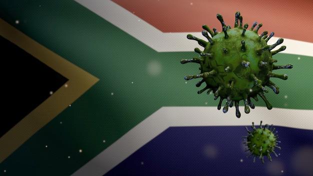 3d 그림 아프리카 rsa 깃발을 흔들며 및 코로나 바이러스 2019 ncov 개념. 남아프리카에서 아시아에서 발생하는 코로나 바이러스는 대유행과 같은 위험한 독감 사례로 인플루엔자입니다. 현미경 바이러스 covid19