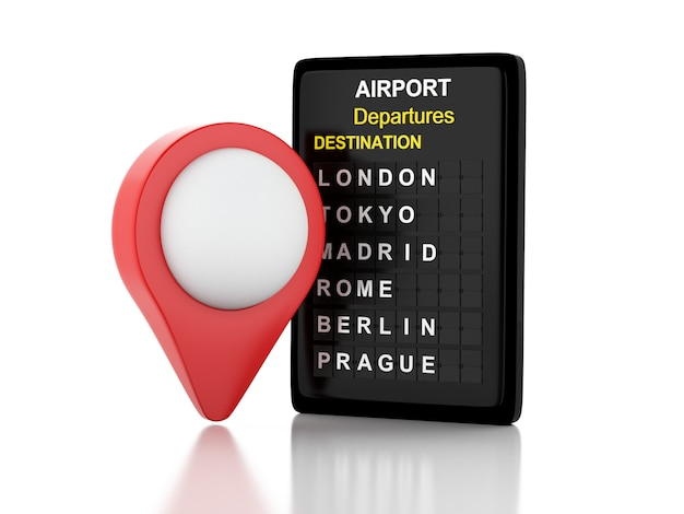 3d illustration. airport board and red map pointer. travel concept. isolated white background