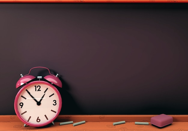 3d illustration. alarm clock with empty chalkboard. back to school concept
