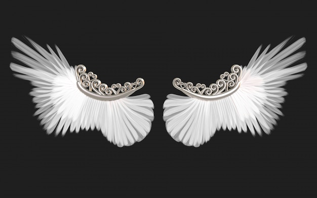 3d illustration angel wings, white wing plumage isolated on black   with clipping path.