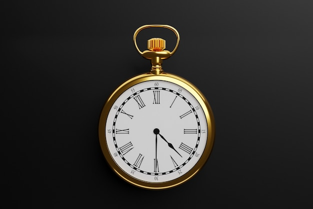 3d illustration of antique golden round clock on black isolated background.