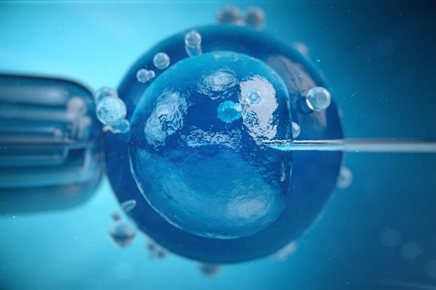3d illustration artificial insemination, fertilisation, injecting sperm into egg cell. assisted reproductive treatment.