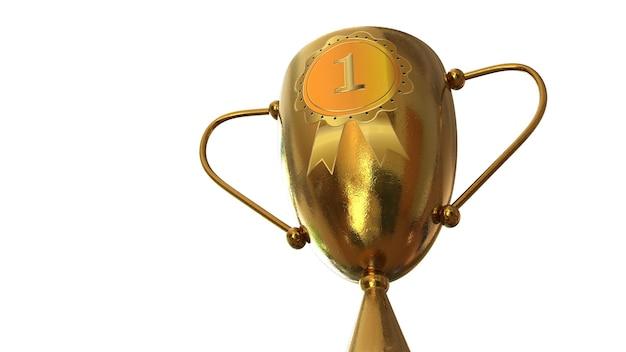 3dイラスト賞、オレンジ色の背景に分離されたトロフィー