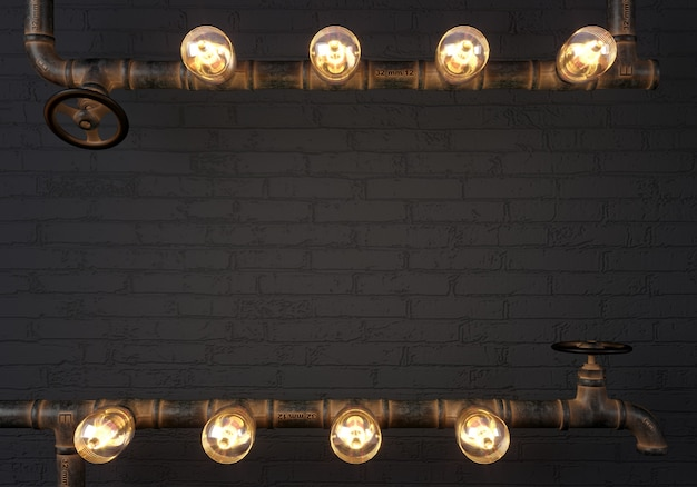 3d illustration. background dark wall loft steampunk lamp from pipes. banner or mock up. quote