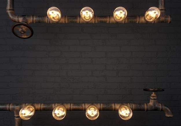 3d 그림. 파이프에서 배경 어두운 벽 로프트 steampunk 램프. 배너 또는 모의. 인용문