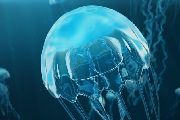 Предпосылка иллюстрации 3d медуз. медуза плавает в океане моря, свет проходит через воду, создавая эффект объемных лучей. опасная голубая медуза