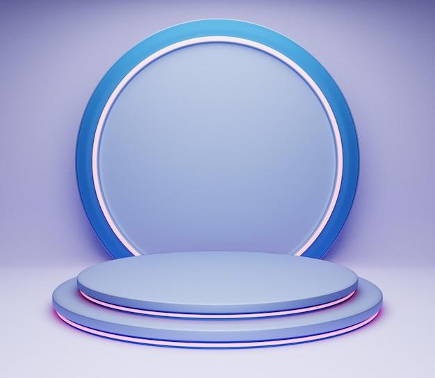 3dイラスト背景ステージシンプルなミニマリスト光沢のある青い抽象的なスタジオ