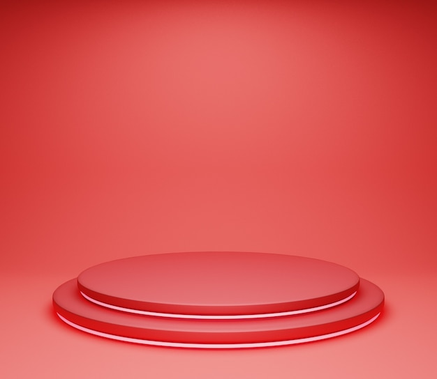 3d illustration background stage simple minimalist glossy red abstract studio