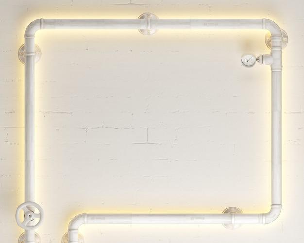 3d иллюстрации. фон белый настенный светильник стимпанк чердак из труб.
