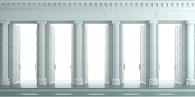 3d illustration. background with classic wall with stone white columns and double open doors.