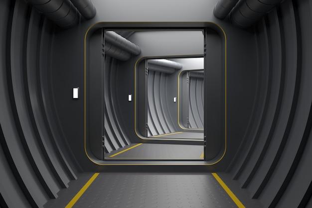 3dイラスト。現代の装甲の背景は、原子炉または実験室のゲートまたはポータルを開きます。