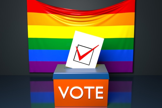 3d illustration of a ballot box or ballot box, into which a ballot bill falls from above, with the lgbt national flag in the background. voting and choice concept