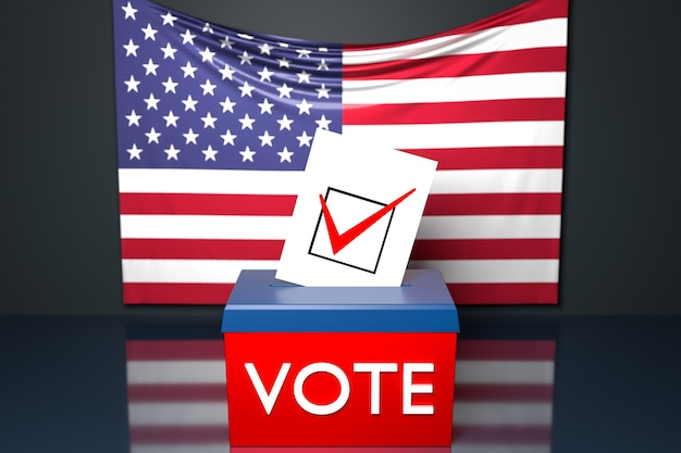 3d illustration of a ballot box or ballot box, into which a ballot bill falls from above, with the us national flag