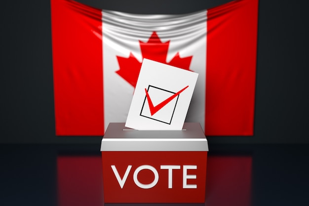 3d illustration of a ballot box  with the  national flag of canada  in the surface. voting and choice concept