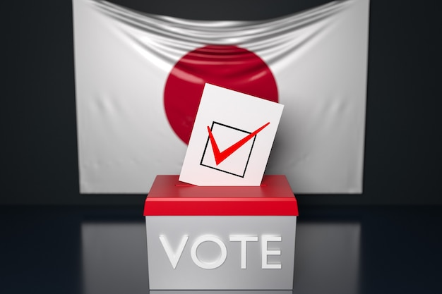 3d illustration of a ballot box  with the national flag of japan in the surface.