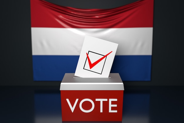 3d illustration of a ballot box  with the  national flag of netherlands in the surface.