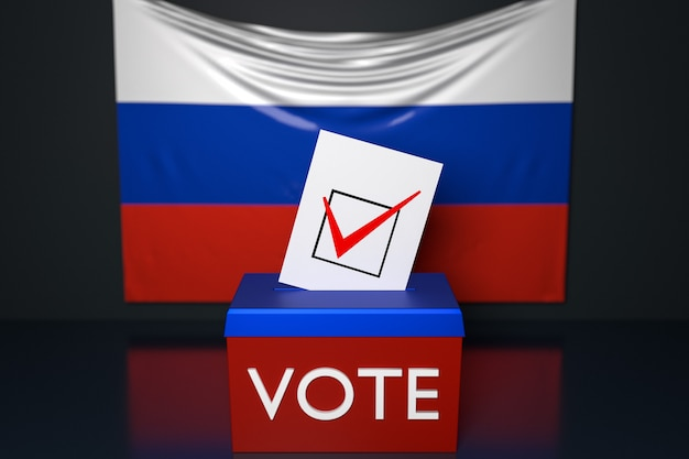 3d illustration of a ballot box  with the  national flag of russia in the surface. voting and choice concept