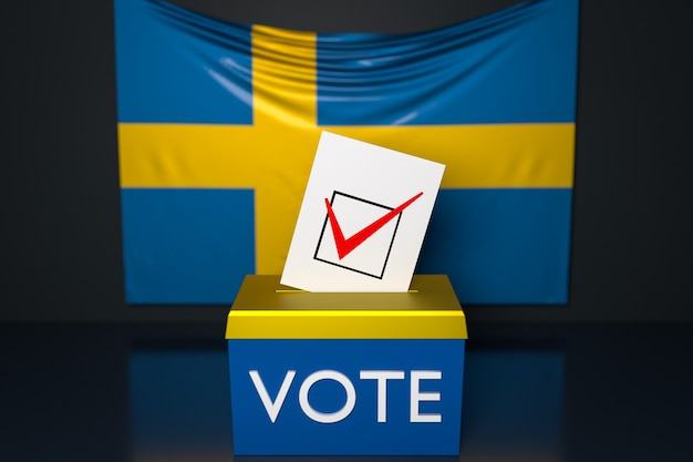 3d illustration of a ballot box with the  national flag of sweden in the surface.