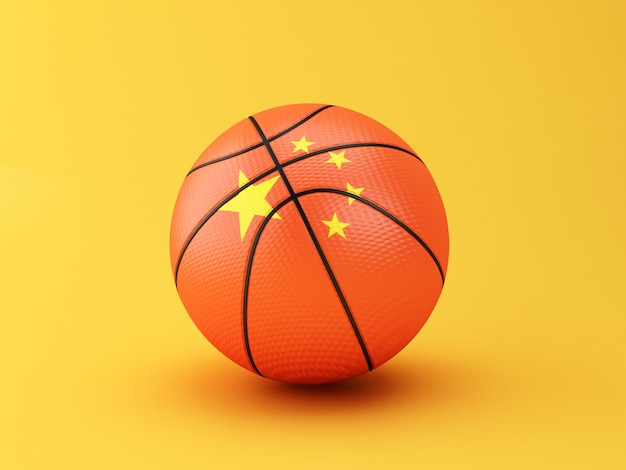 3d illustration. basketball ball with china flag on yellow background.