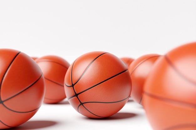3d illustration of basketball balls a lot of orange basketball balls l
