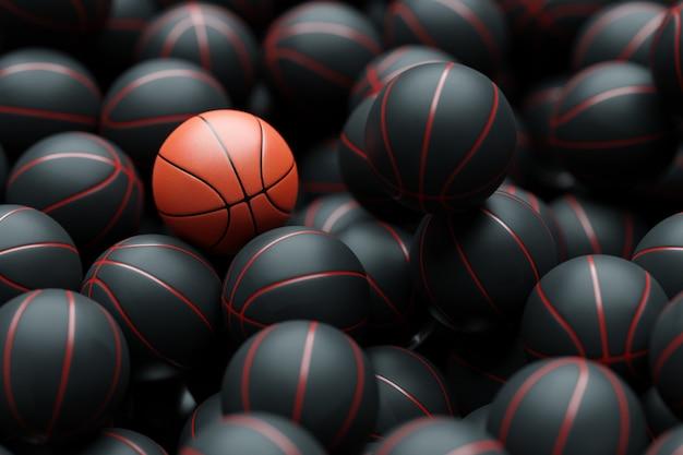 3d illustration of basketball balls one orange basketball lies among the black balls