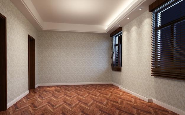 3d 그림 커튼과 마루 바닥으로 장식 된 아름 다운 밝고 따뜻한 방
