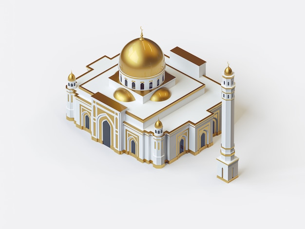 3d illustration of beautiful white and gold mosque, isometric style architecture
