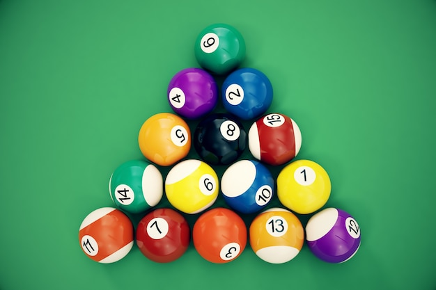 3d illustration billiard balls arranged in a triangle viewed from above