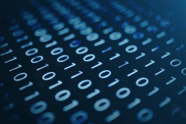 Код иллюстрации 3d бинарный на голубой предпосылке. байты двоичного кода. концепция технологии. цифровой двоичный фон.