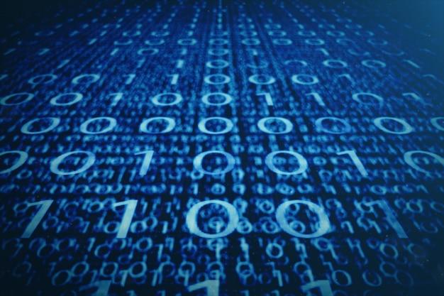 Бинарный код сини иллюстрации 3d. байты двоичного кода. концепция технологии. цифровой бинарный.