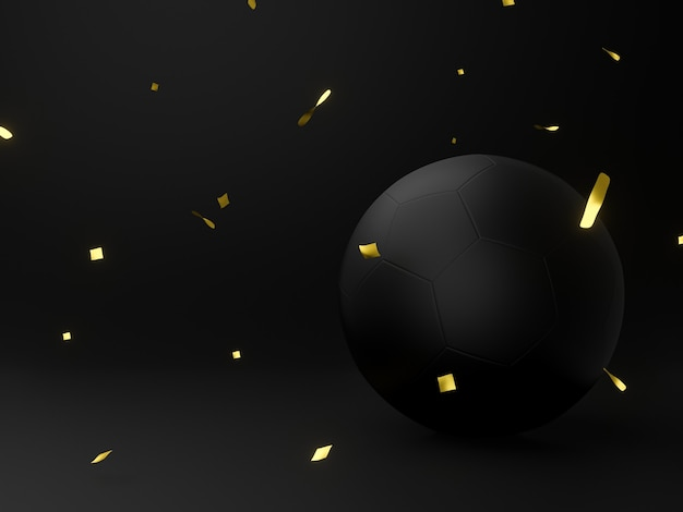 3d иллюстрации. празднование гола черный мяч.