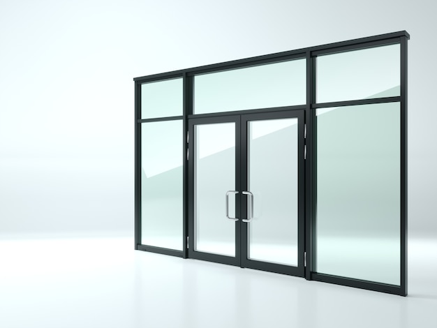3d illustration. black double glass door in the shop or windows.