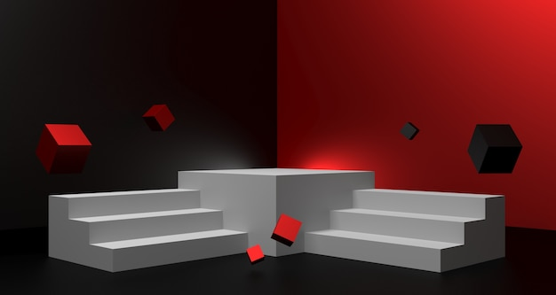 3d illustration of black friday sale background with empty podium for product display concept.