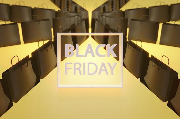 3dイラスト。ブラックフライデーの買い物袋0nyewllow背景。テキスト用のスペースをコピーする